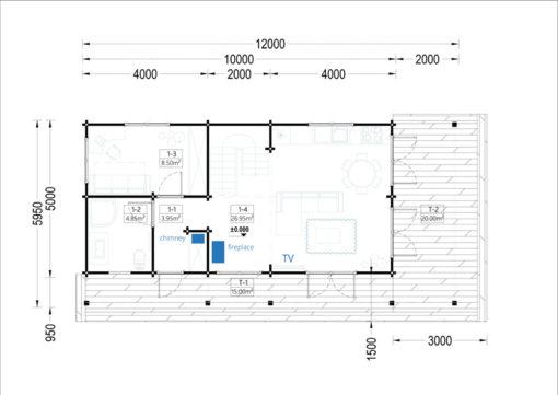 Wooden summerhouse AURA (6m x 12m) - floor plan