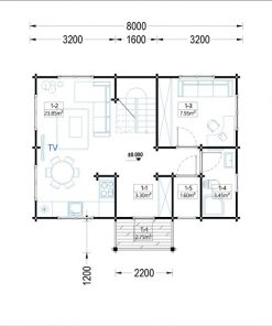 Wooden summerhouse EMMA (8m x 5.7m) - floor plan I