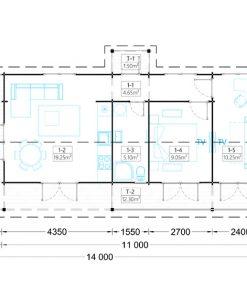 Wooden summerhouse TOSCANA (14m x 6m) - floor plan