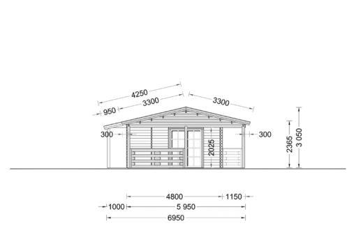 Wooden summerhouse TOSCANA (14m x 6m) - side view