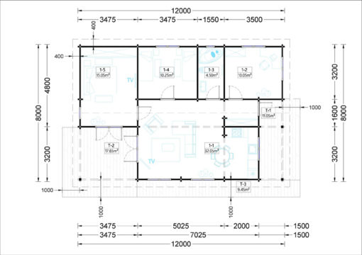 Wooden summerhouse LINDA (8m x 12m), 66mm - floor plan