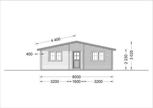 Wooden summerhouse LINDA (8m x 12m), 66mm - side