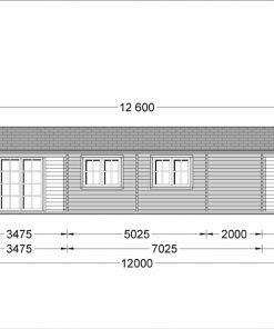 Wooden summerhouse LINDA (8m x 12m), 66mm - front