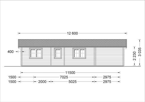 Wooden summerhouse LINDA (8m x 12m), 66mm - back