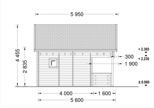 Wooden cabin ALBI (5.6m x 5m) + terrace - side view