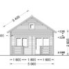 Wooden cabin ALBI (5.6m x 5m) + terrace - front view