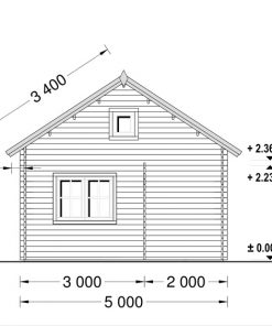 Wooden cabin ALBI (5.6m x 5m) + terrace - back view