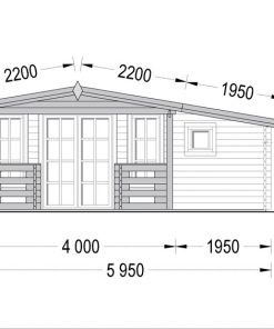 Wooden house ISLA (6m x 5m), - Front side