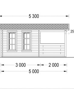 Wooden house ISLA (6m x 5m), - Right side