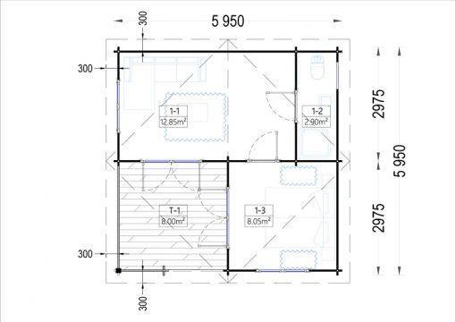 Wooden house OLIVIA (6m x 6m) - floor plan