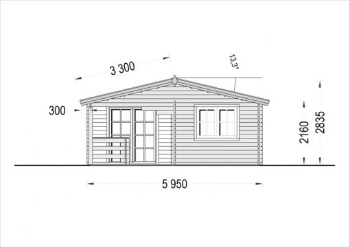 Wooden house OLIVIA (6m x 6m) - front view