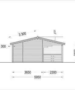 Wooden summerhouse AMELIA (9m x 6m) - Right side