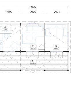 Wooden summerhouse AMELIA (9m x 6m) - Floor plan