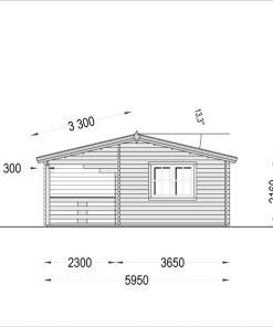 Wooden summerhouse AMELIA (9m x 6m) - side