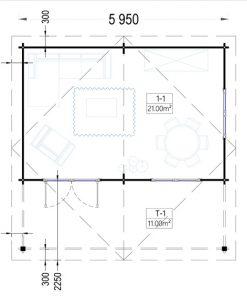 Rąstinis namas CAMILA 24m²- Floor plan