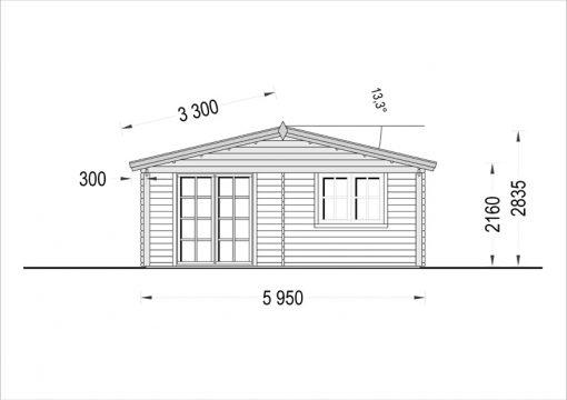 Rąstinis namas CAMILA 24m²- Front side