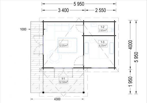 Wooden cabin HELEN (6m x 4m) - floor plan
