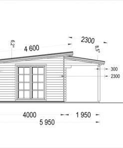 Wooden cabin HELEN (6m x 4m) - side view