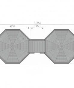 Camping cabin 16.5 m² + 16.5 m² - PLAN