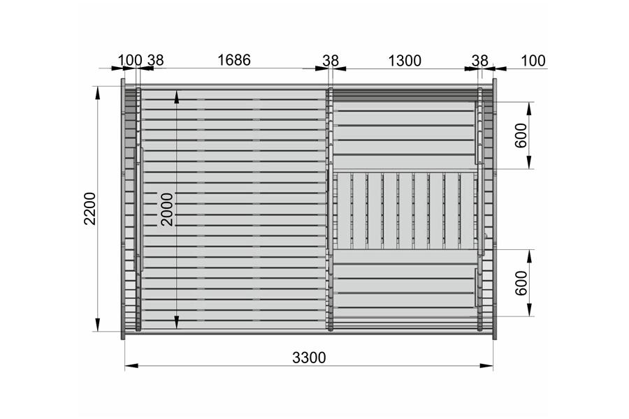 "Sleeping camping ""barrel"" 3.3 m (Mini family size)- PLAN"