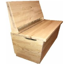 Swinging bench with storage space