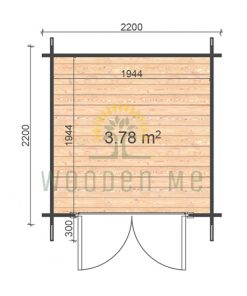 Garden shed BEDFORD 2.2 x 2.2m, 28mm floor plan