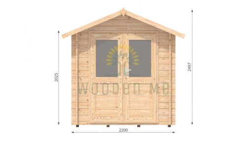 Garden shed BEDFORD 2.2 x 2.2m, 28mm front
