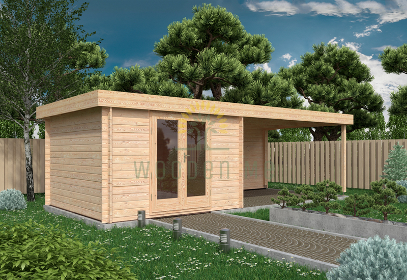 Garden shed ERIC 3,3 x 7,36 m, 28 mm