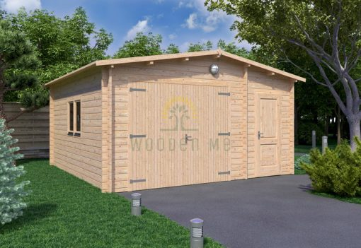 Wooden garage 5m x 5m, 44mm