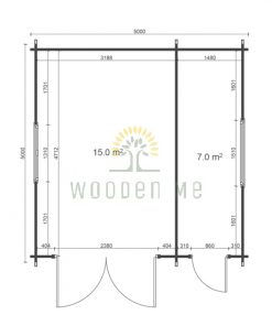 Wooden garage 5m x 5m, 44mm _ floor plan