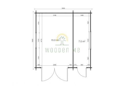 Wooden garage 5m x 5m, 44mm _ floor plan