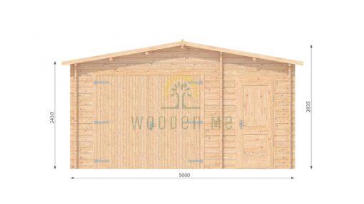 Wooden garage 5m x 5m, 44mm _ front side