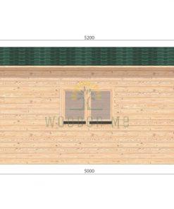 Wooden garage 5m x 5m, 44mm _ left side