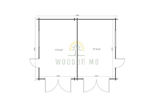Double wooden garage 7m x 5.5m, 44 mm_floor plan