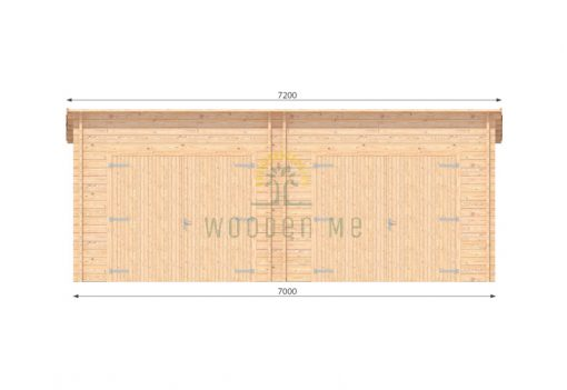 Double wooden garage 7m x 5.5m, 44 mm_front