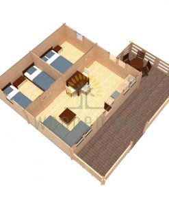 Wooden house GUSTAV 6 m x 6 m 44 mm