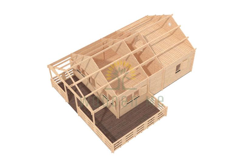 Wooden house GUSTAV B 6 m x 8 m 44 mm