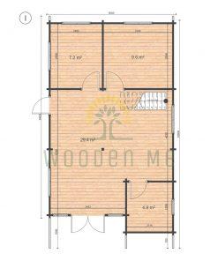 Wooden house Felix 6 x 10 68 mm_floor plan_I