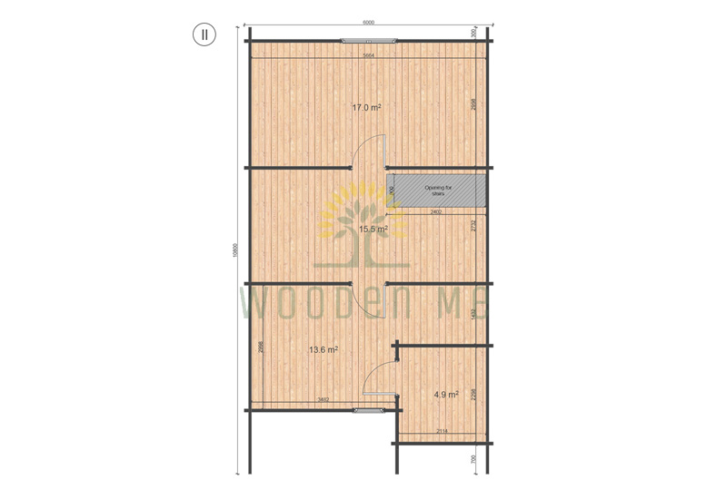 Wooden house Felix 6 x 10 68 mm_floor plan_II