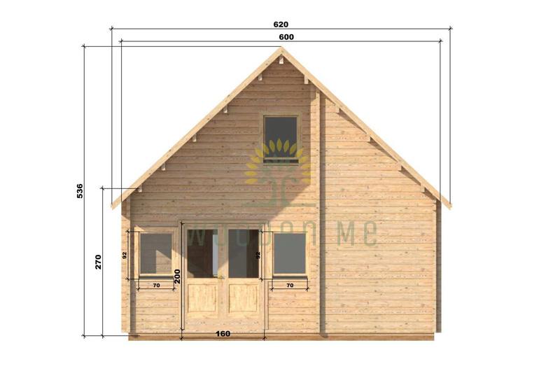 Wooden house Felix 6 x 10 68 mm_front