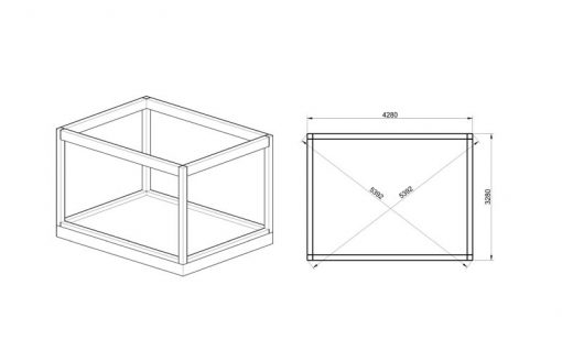 Insulated Cube-Hotel (3 m x 4 m) - FOUNDATION.