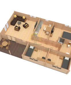 Wooden house Iberica T3 7,92 x 11,84 68 mm
