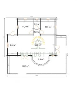 Wooden house Vienna 8,3 x 11 68 mm__Plan