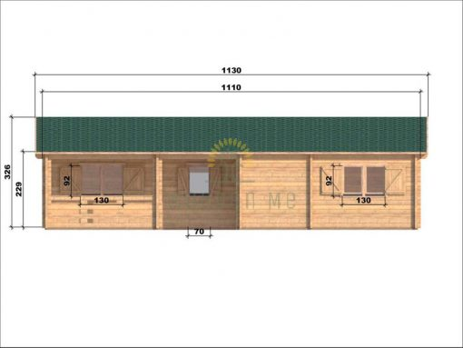 Wooden house Markus 7,1 x 11,1 68 mm_front
