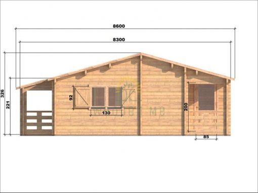 Wooden house Markus 7,1 x 11,1 68 mm_left