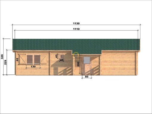 Wooden house Markus 7,1 x 11,1 68 mm_rear