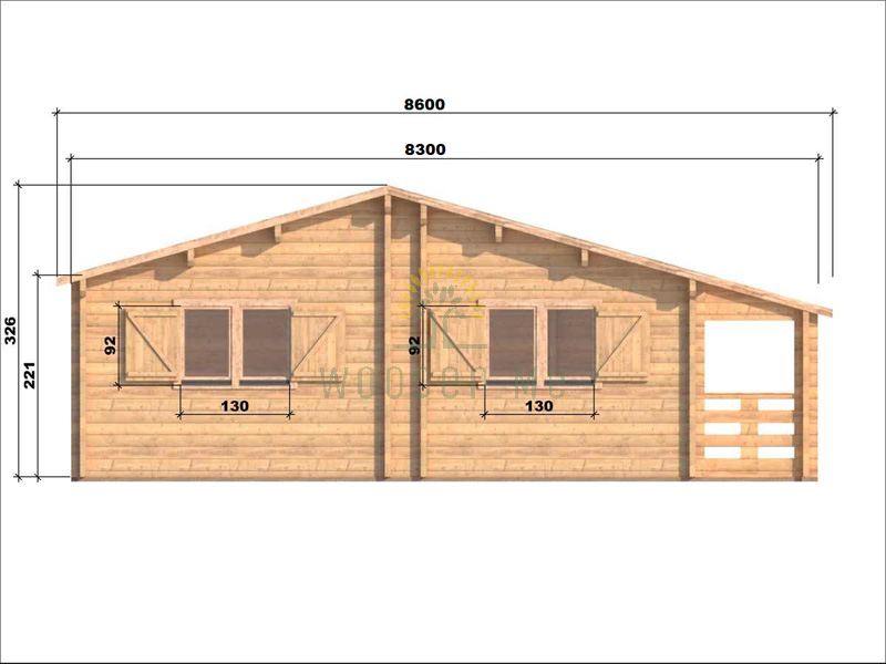 Wooden house Markus 7,1 x 11,1 68 mm_right