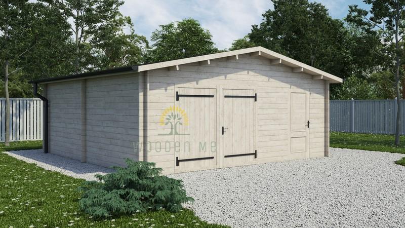 Wooden garage 5.7mx5.7m 68 mm, (32.5 m2)