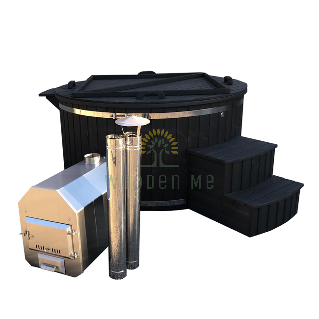Plastic hot tub with outside heater