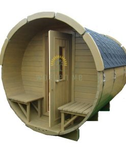 Sauna barrel with changing room 3.5 m Ø 1.9 m